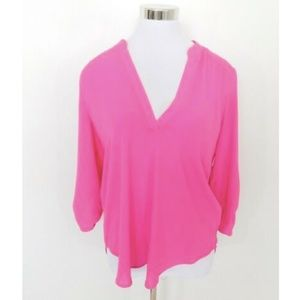 Lush Bright Pink 3/4 Sleeves Career V-Neck Top